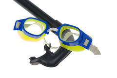 Isolated - swimming goggles, snorkel. Isolated on a white background royalty free stock photos
