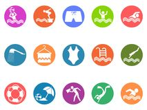 Swimming pool round button icons set. Isolated swimming pool round button icons set from white background Royalty Free Stock Photo