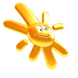 Isolated symbolic sun smile. 3d rendering Stock Images