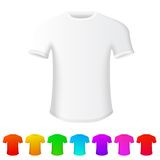 Isolated t-shirt on white background, with set of. T-shirts of all rainbow colors. Vector illustration Stock Photos