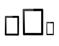 Isolated big tablet computer and mini and touch phone Royalty Free Stock Images
