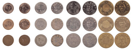 Isolated Taiwanese Coins From New to Worn. Large pile of Taiwanese coins shot from straight above. The pile includes 1, 5, 10 and 50 New Taiwan dollar coins Royalty Free Stock Photos