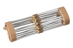 Isolated taped resistors Royalty Free Stock Image