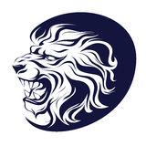 Isolated tattoo, vector illustration, profile silhouette head of a roaring lion Royalty Free Stock Photos