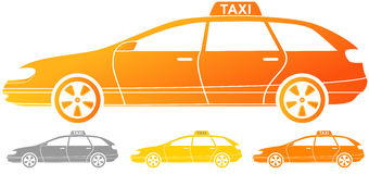 Isolated taxi cab silhouette Royalty Free Stock Photo