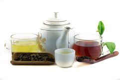 Isolated of tea. Isolated of red tea and oolong tea Royalty Free Stock Images