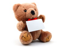 Isolated teddy with blank sheet Royalty Free Stock Photo
