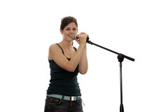 Isolated teen singer Royalty Free Stock Photo