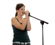 Isolated teen singer royalty free stock image