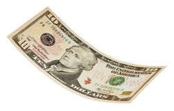 Isolated Ten Dollar Bill Royalty Free Stock Photos
