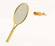 Isolated tennis racket with flaming ball. Reaching stock images
