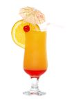 Isolated tequila sunrise with an umbrella  Royalty Free Stock Image