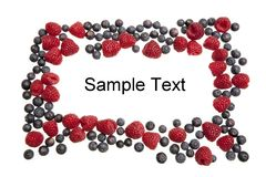 Isolated text field framed with blueberries and raspberries Stock Image
