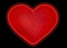Isolated texture red glowing heart on black Stock Image