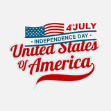 Isolated 4th of july lettering. American Independence Day background Stock Photos
