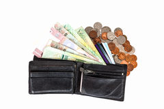 Isolated Thai bangnotes ,credit cards in wallet and coins Stock Image