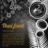 Isolated Thai Food Menu Tom Yam Kung. Thai delicious and famous food.river prawn spicy soup Tom yum kung and ingredient with isolated black background,black and Royalty Free Stock Photography