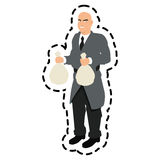 Isolated thief cartoon with money bag design Royalty Free Stock Images