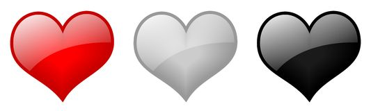 Heart icons. Isolated three heart icons with white gloss Royalty Free Stock Photo