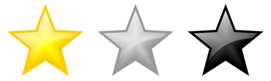 Star icons. Isolated three star icons with white gloss Royalty Free Stock Images