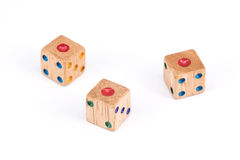 Isolated Three wood dice show one point face Royalty Free Stock Photo