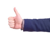 Isolated thumbs up male hand on white,. For praise or like hand gestures Stock Photography