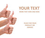 Isolated thumbs up on white. Isolated thumbs up for your product and services Royalty Free Stock Photography