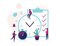 Time management tiny people planner royalty free illustration