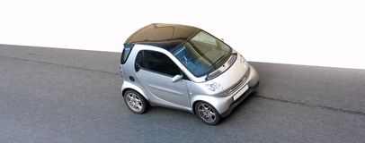 Isolated tiny smart small car. Isolated clever smart small little car road speed Royalty Free Stock Photo