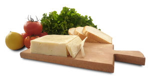 Isolated tomato, lemon, lettuce, bread and cheese stock photography