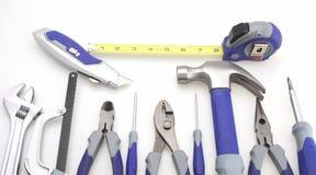 Isolated Tool Set. Tool set hammer pliers adjustable driver box knife tape stock photo