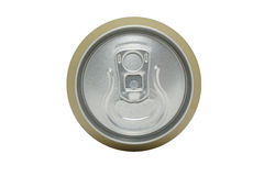 Isolated top of a canned drink. Isolated close-up shot of the top of a canned drink Stock Images