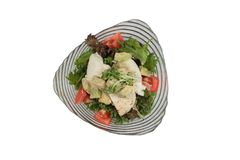 Isolated top view of Breast chicken salad including avocado, tomato and red oak topping with wild rocket and salad dressing Stock Photos