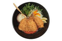 Isolated top view of Fried tempura whiting fish or asohos. Isolated top view of Fried tempura whiting fish or asohos with home made tomato sauce served with Royalty Free Stock Image