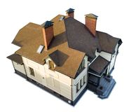 Isolated top view of new residential house cottage with shingle roof.  royalty free stock photography