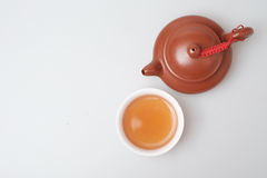 Isolated topview tea pot and tea cup Stock Photography