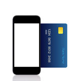 Isolated touch phone and a  blue credit card Stock Photos