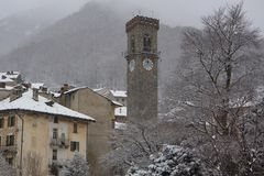 Isolated town under snow royalty free stock image