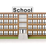Isolated town school building with brick facade Stock Images