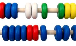 Isolated toy abacus. Isolated two row of toy colors wooden abacus Royalty Free Stock Photos