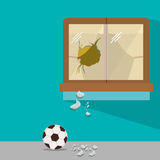 Isolated toy ball damaged design. Toy soccer ball damaged icon. Childhood play fun cartoon and game theme. Isolated design. Vector illustration Stock Images
