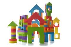 Isolated toy block castle. White background Stock Image