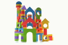 Isolated toy block castle. White background Stock Photography