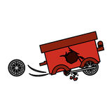 Isolated toy cart damaged design. Toy cart damaged icon. Childhood play fun cartoon and game theme. Isolated design. Vector illustration Royalty Free Stock Images