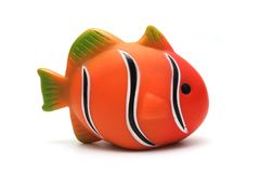 Isolated Toy Clown Fish. Orange Plastic Toy Clown Fish on White Background Royalty Free Stock Photography