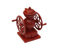 Isolated toy coffee grinder. Isolated image of a red toy coffee grinder Stock Photos
