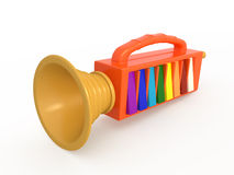 Isolated toy fife, 3D. Isolated toy fife, music instrument, 3D Stock Photo