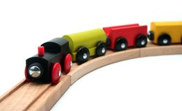 Isolated Toy Train. Wooden Toy Train Set on White Background Stock Image