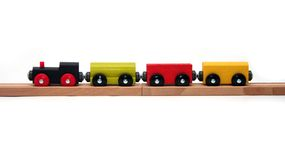 Isolated Toy Train. Wooden Toy Train Set on White Background Royalty Free Stock Photo