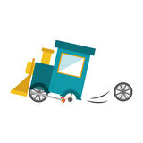 Isolated toy train damaged design. Toy train damaged icon. Childhood play fun cartoon and game theme. Isolated design. Vector illustration Stock Photo